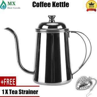 minxin [free gift] 650ML Stainless Steel Gooseneck Spout Kettle Pour Over Coffee Tea Home Brewing Drip Pot Silver