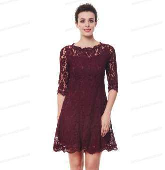 ... Sleeve Cocktail Party Wedding Work Knee Length Dress – intl. Kenancy Womens Elegant Full Floral Lace Fit And Flare A-Line Dress 3/4