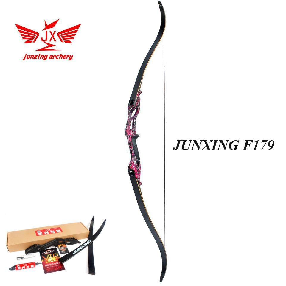 [มือขวา RH] 45LBS Purple Camo Adult Archery Recurve Bow American Hunting Target Fishing Take Down JUNXING F179 ธนู