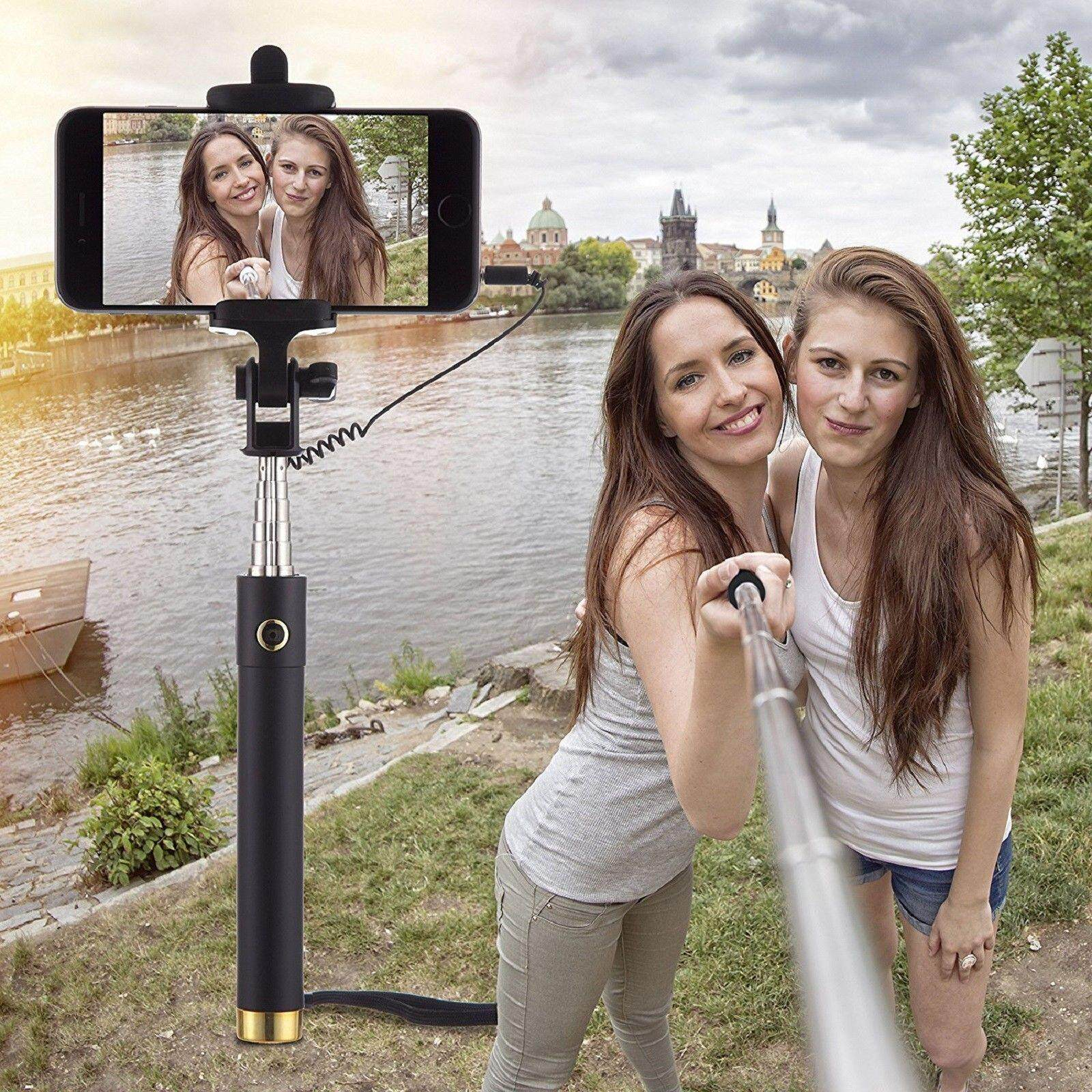 New Selfie Stick Monopod Mini Mobile Phone holder Telescopic Wired button For Samsung iPhone(gold)