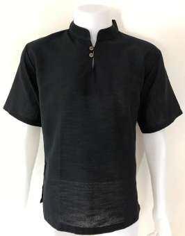 เสื้อผ้าฝ้าย (น้ำไหล) กระดุม 2 เม็ด คอจีน แขนสั้น