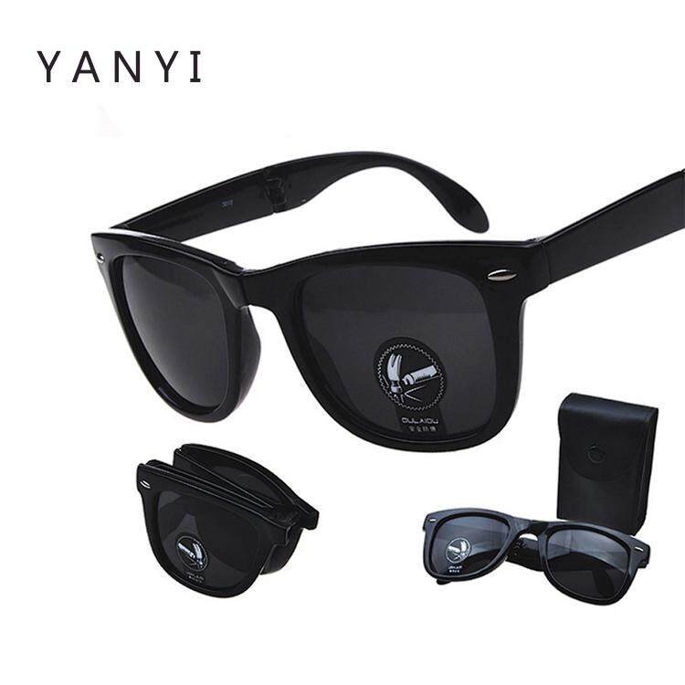 Fashion Shatter-proof Folding Sunglasses Dazzling Sunglasses and Black Case