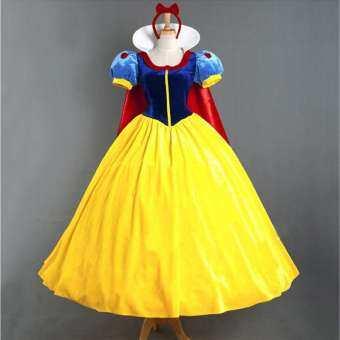 เทศกาลฮาโลวีการประชุมประจำปีงานพรอมเสื้อผ้าผู้ใหญ่ Snowhite กระโปรงเจ้าหญิงเวทีเสื้อผ้า COSPLAY ที่มีเสื้อคลุมกันลมเครื่องประดับหัวสุ่มกระโปรงในชุดแต่งงาน-