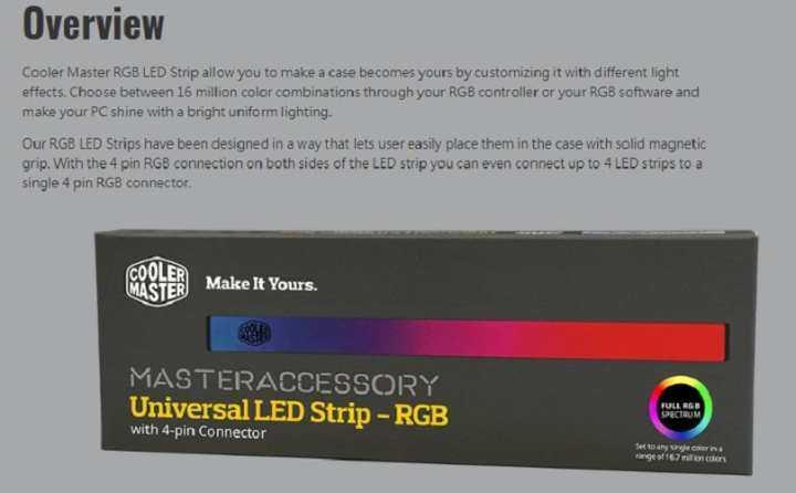 ราคา Cooler Master Universal LED Strip – RGB | Eva Build a Computer