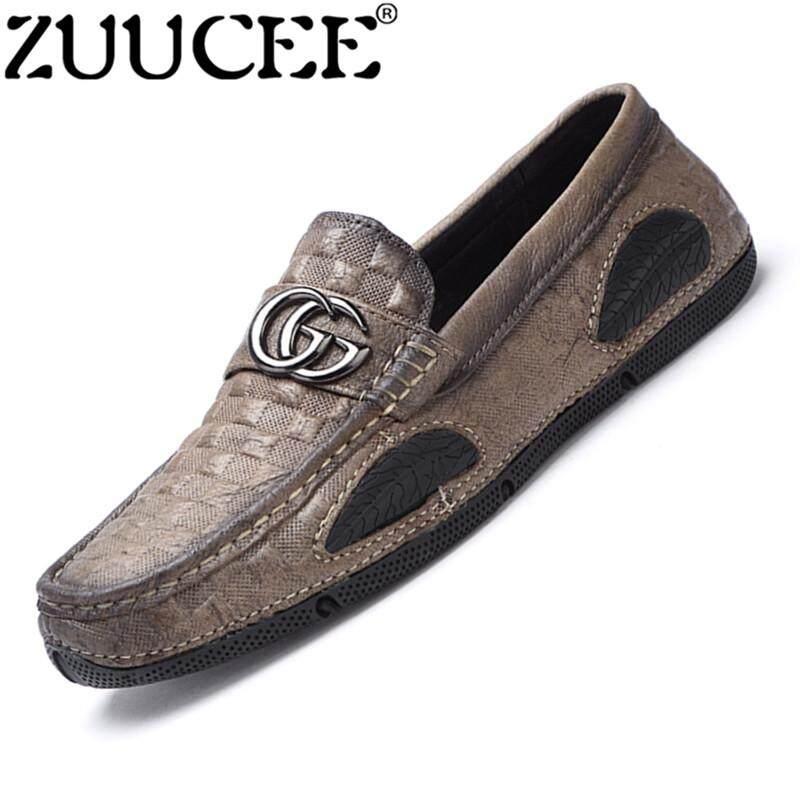 Zuucee Fashion Pria Sepatu Kulit Sepatu Kasual Flats Sepatu Kacang Sepatu  Berkendara Kasual Slip-Ons d0902b4300