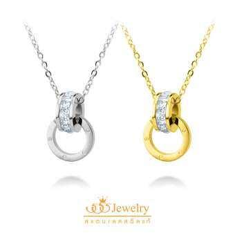 555jewelry สร้อยคอพร้อมจี้ ดีไซน์สวย รุ่น MNC-N229-B(Gold) (P24) สร้อยคอ สร้อยคอแฟชั่น สร้อยคอผู้หญิง สร้อยคอสแตนเลส สร้อยสแตนเลส สร้อยแฟชั่น-