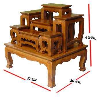 โต๊ะหมู่บูชา หมู่ 7 ขนาดความกว้างแต่ละโต๊ะ 4 นิ้ว (โต๊ะหมู่บูชา 7 หน้า 4) ผลิตจาก ไม้สัก