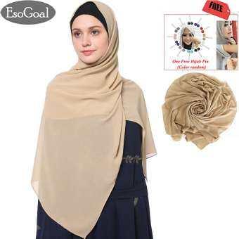 ราคา EsoGoal Women's Modest Muslim Hijab Islamic Soft Solid Chiffon Hijab Cap Long Scarf Head Shawl