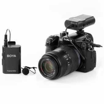 BOYA BY-WM4 2.4GHz Wireless Omnidirectional Lavalier Microphone with Transmitter and Receiver for Smartphones, DSLR Cameras and Video Cameras(Black) - intl