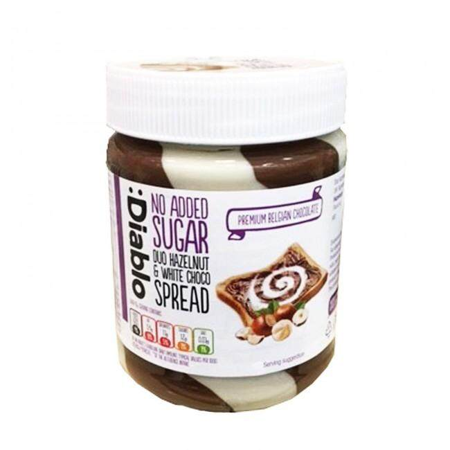 Diablo No Added Sugar Duo Hazelnut & White Choco Spread 350g