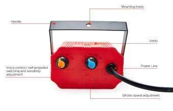 ไฟดิสโก้ LED Mini Room Strobe ขนาด 12W 24 RGB LED Sound Activate ให้แสงสีเปลี่ยนสีได้ตามเสียงเพลง ปรับความเร็วได้สูงต่ำได้  เหมาะสำหรับงานปาร์ตี้ /DJ/ งานที่ใช้แสง สี เสียง-