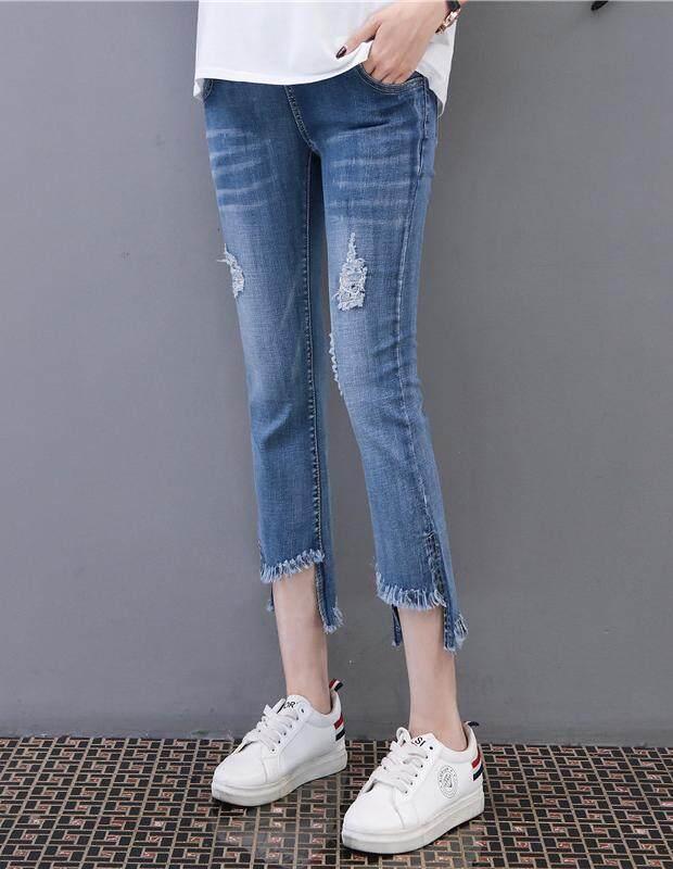 โปรโมชั่น กางเกงคนท้อง กางเกงขาสั้นคนท้อง รหัส A073 กางเกงยีนส์คนท้องขา 6 ส่วน ปลายขาแต่งลุ่ยสุดชิค