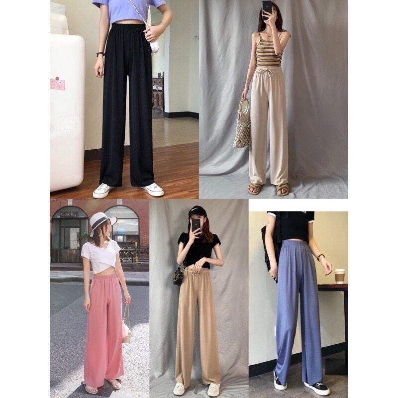กางเกงผ้าเดรปขากว้าง 2020 ฤดูร้อนกางเกงลำลองผู้หญิงเอวสูง สไตล์เกาหลีกางเกงผ้าไหมน้ำแข็ง มีให้เลือก 5 ส๊.