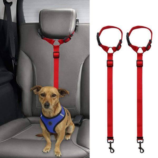 2 Packs Dog Cat Safety Seat Belt Strap Car Headrest Restraint Adjustable Nylon Fabric Dog Restraints Vehicle Seatbelts Harness
