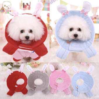 ปลอกคอกันเลีย ปลอกคอลำโพง คอลล่าร์ รุ่นผ้านิ่ม (Collar) สำหรับสุนัขและแมว ลายกระต่าย Size L-