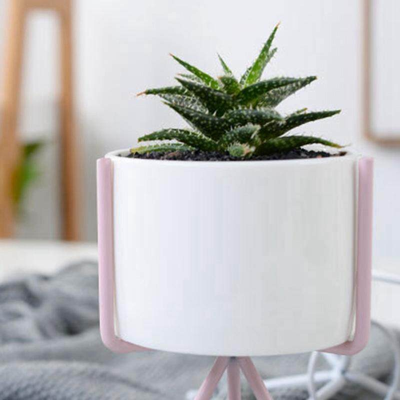 Nordic Style Ceramic Flower Pot Planter Iron Frame Plant Holder Desk Decoration