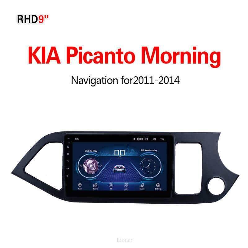 เครื่องนำทาง สำหรับรถยนต์ Kia Picanto Morning 2011-2014 9 Inch Android 8.1 Wifi 1g/16g แผนที่ในการนำทาง By Gointer.
