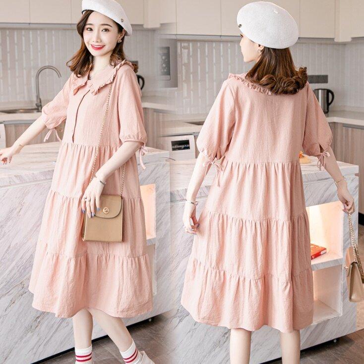(สินค้าพร้อมส่ง)Dressy dress ชุดคลุมท้อง เดรสคลุมท้อง ชุดคลุมท้องทำงาน ชุดคลุมท้องฝ้าย สีโอโรส