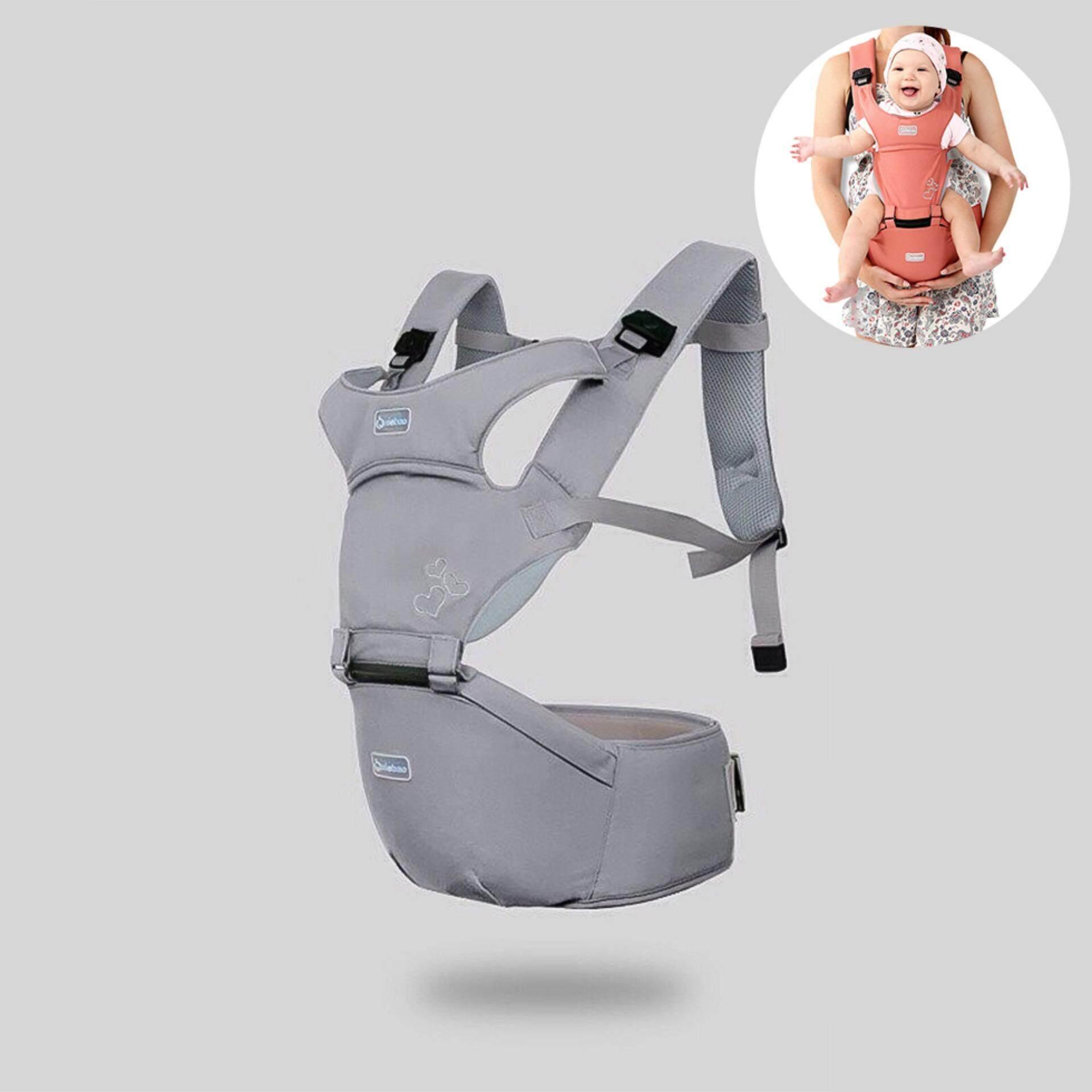 Aiebao Hip Seat 2in1 เป้อุ้มเด็ก ลายหัวใจ สีเทา