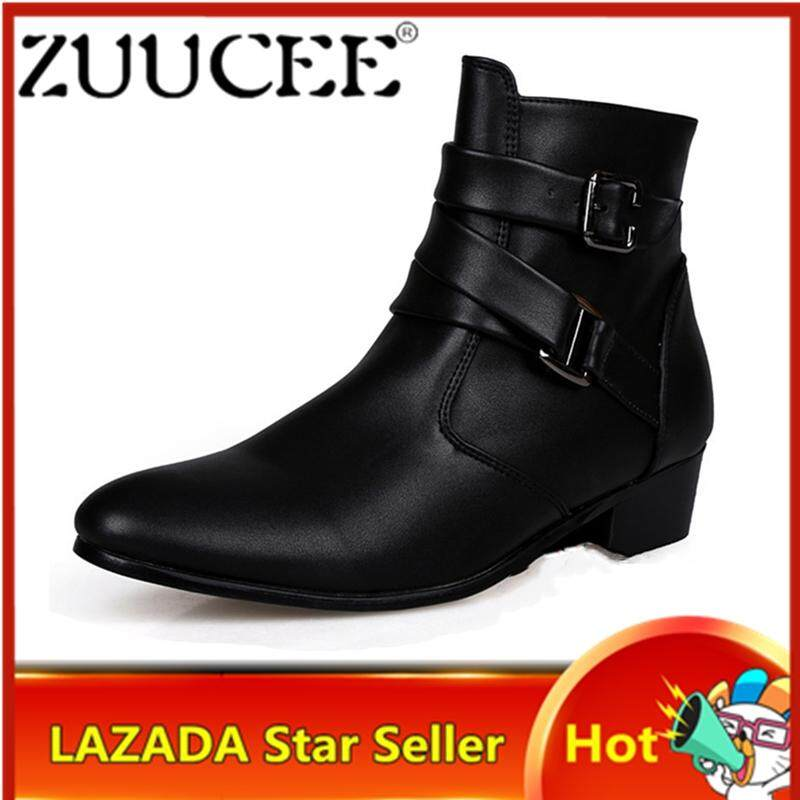 ZUUCEE Men Pointed Leather Shoes Mid-Calf Boots Buckle Flats Shoes(black)【