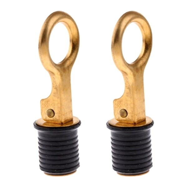 2 Pack Rubber Brass Snap Flip Boat Drain Plug Bung for Marine Coolers Hulls to Suit 25MM Hole