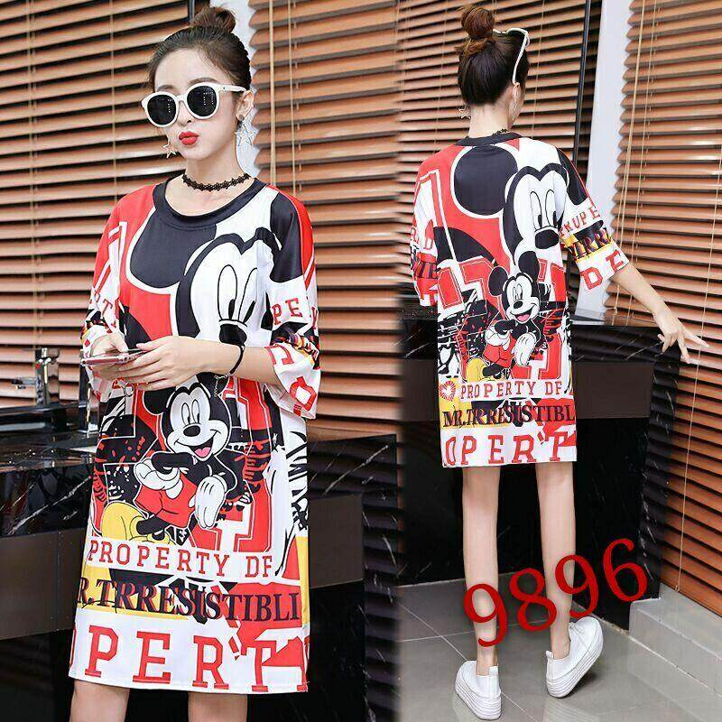 ce81efb8a00f 2019 Summer Korean Style New Style Loose Slimming Cartoon Digital Printing  Mid-length Short Sleeve
