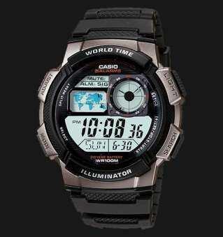 Casio Standard รุ่น AE-1000W-1BVDF นาฬิกาข้อมือผู้ชาย สายเรซิ่น กันน้ำ 100 เมตร อายุแบต 10 ปี -มั่นใจ ของแท้ 100% ประกันศูนย์ 1 ปีเต็ม