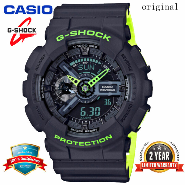 2021 Original Casio G Shock GA110 Men Sport Watch Dual Time Display 200M Water Resistant Shockproof and Waterproof World Time LED Auto Light Sports Wrist Watches with 2 Year Warranty GA-110LN-8AJF Black Green (Free Shipping) Malaysia