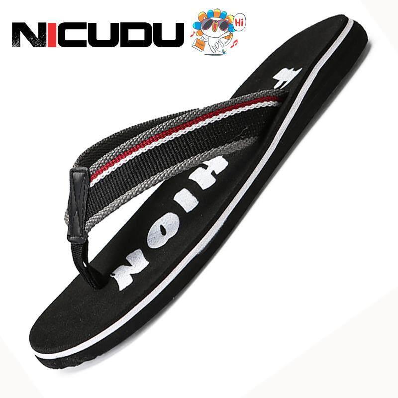 Nicudu ผู้ชายฤดูร้อนลายสบายพลิก Flops รองเท้ารองเท้าแตะชายรองเท้าแตะ Flip-Flop ลำลองที่มีสีสันชายหาดแบนขนาดบวก By Nicudu Official Store.