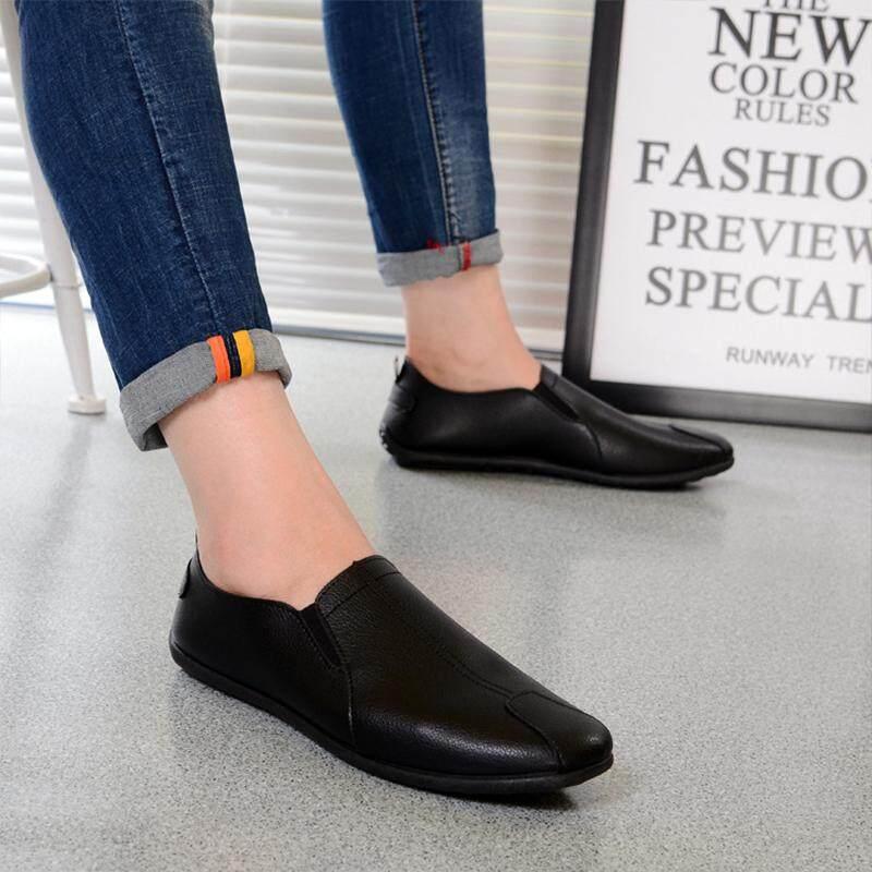 รองเท้าหนังสุภาพบุรุษ (สีดำ) รุ่น Men shoes slip on Loafers flat light comfortable shoes LTH040