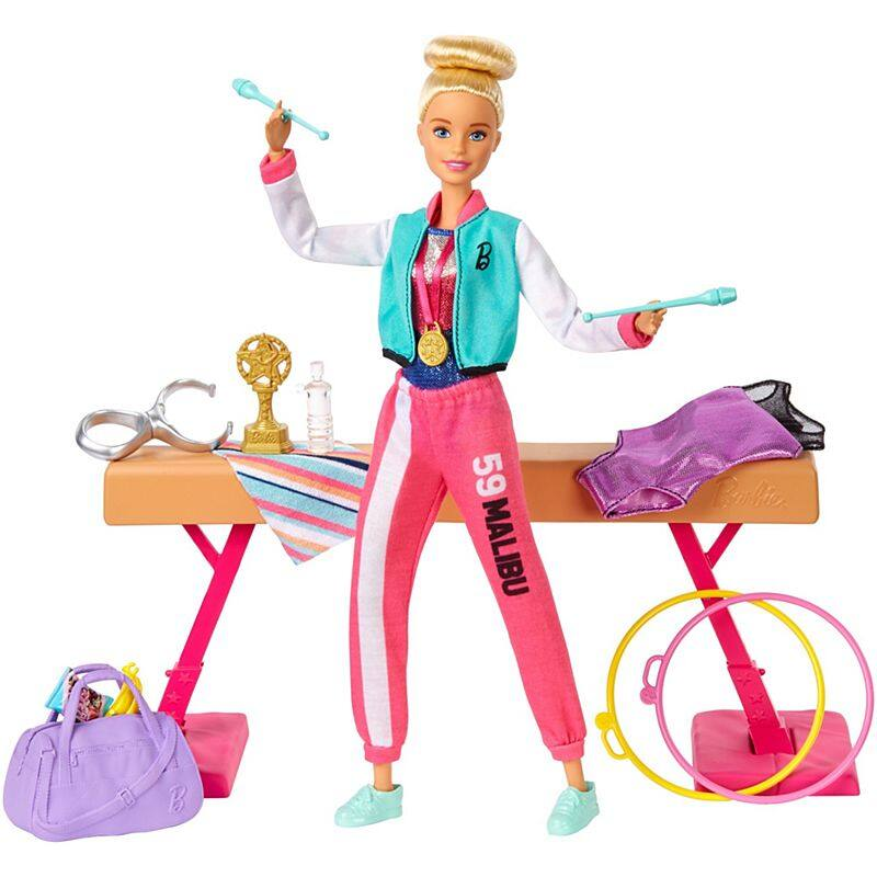 Barbie® Gymnastics Playset With Doll, 15+ Accessories ตุ๊กตา บาร์บี้ ยิมนาสติก ของเล่น ของขวัญ Gjm72.