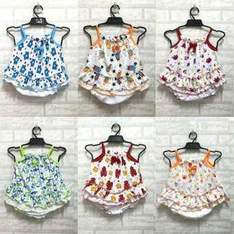 ชุดเด็ก ผ้ายืด คละสี ไซต์ S สำหรับเด็ก 2 เดือน ถึง 10 เดือน (1 แพ็ค มี 6 ชุด)-