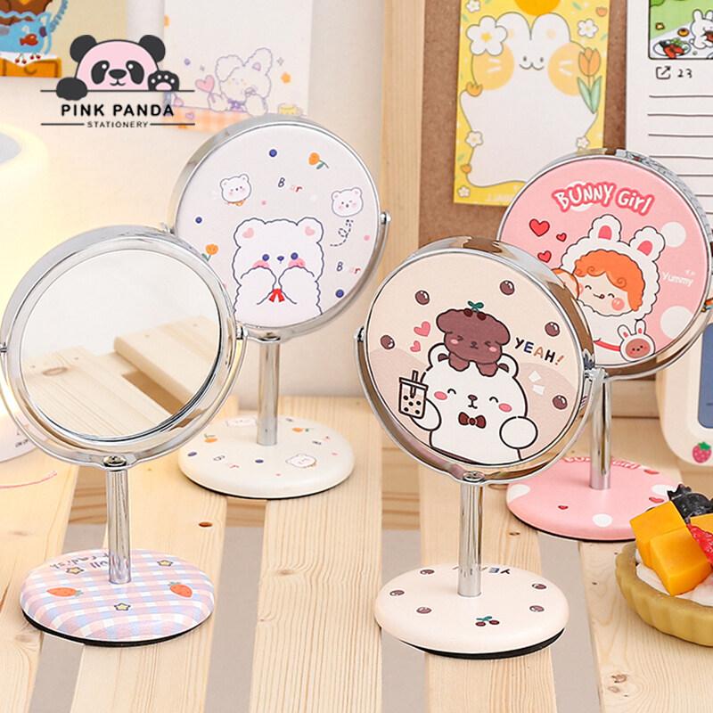【pinkpanda】กระจกแต่งหน้า กระจกหมุนตกแต่งบนโต๊ะ กระจกบานเล็ก กระจกแต่งหน้าแบบตั้งโต๊ะ กระจกตั้งโต๊ะหมุนได้ 360 องศา Makeup Mirror.