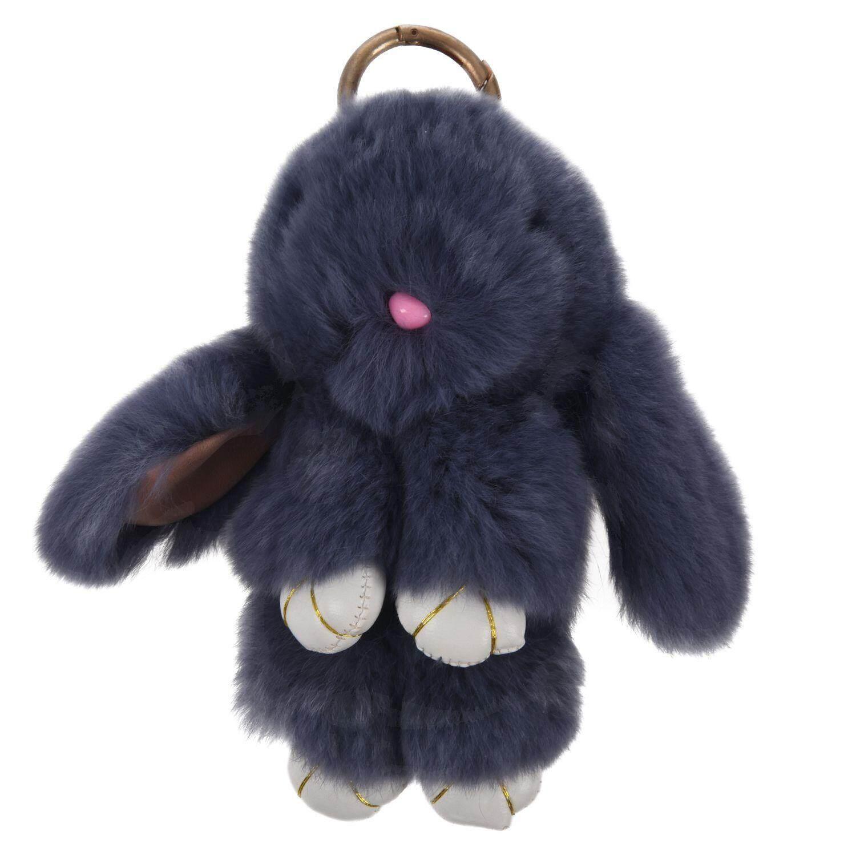 fc34e4225 Bunny Rex Rabbit Fur Bag Handbag Keychain Pom Doll Ball Key Chain Ring  Pendant (grey