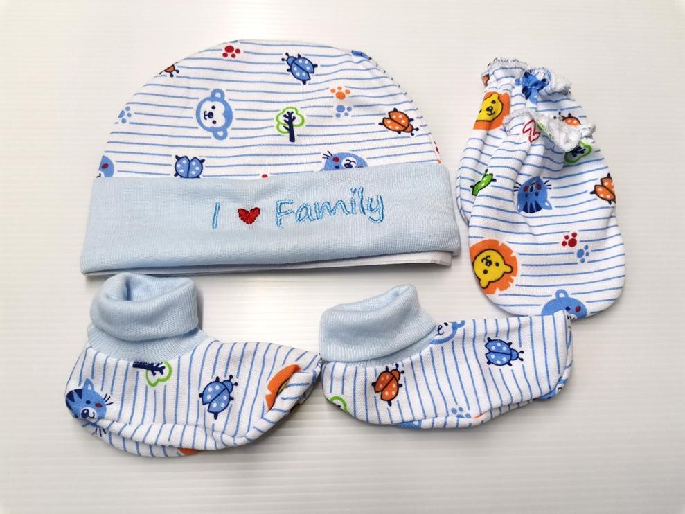 ชุดเซ็ตหมวกเด็กอ่อน หมวกเด็กทารก หมวกเด็กแรกเกิด (หมวก1ใบ + ถุงมือ1คู่ + ถุงเท้า1คู่).