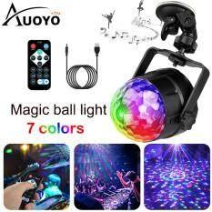 Auoyo Đèn Trang Trí Sân Khấu DJ Phòng Karaoke 3 Màu Cảm Biến NhạcXoay 360 Độ Hiệu Ứng Nhấp Nháy Đèn led xoay 7 Màu Đèn sân khấu Mini LED Light Disco Ball Party