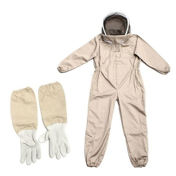 Professional Ventilated Full Body Beekeeping Bee Keeping Suit with Leather Gloves