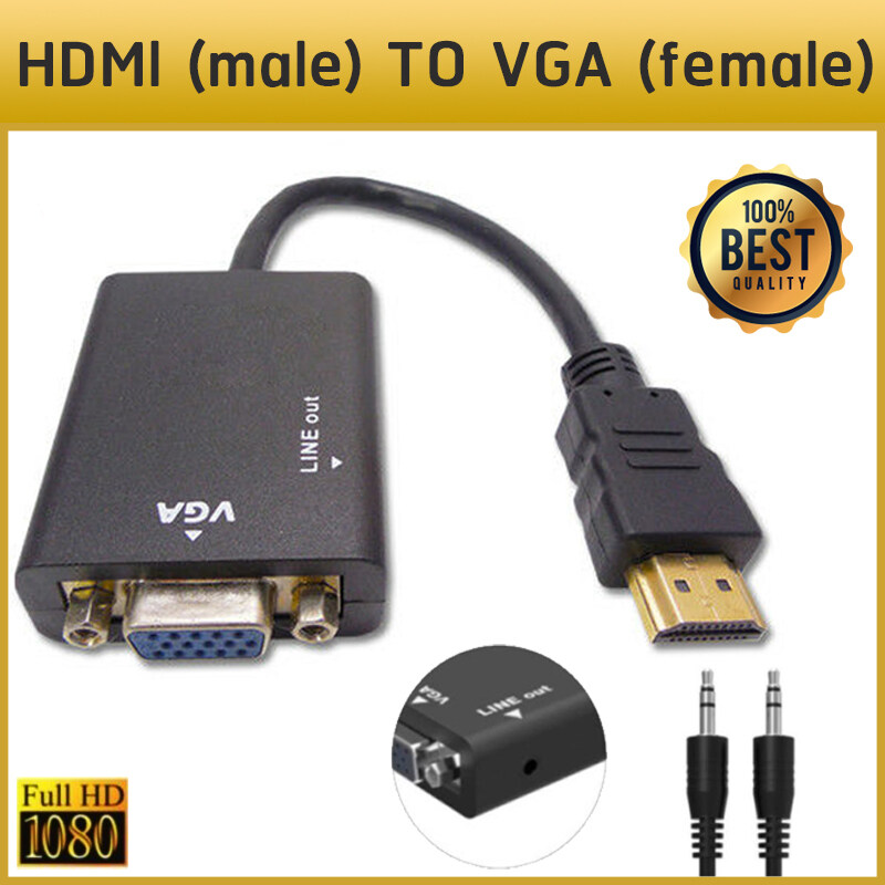 1080p Hdmi To Vga + Video Converter Adapter Hd Cable Audio Output Hdmi2vga With Audio Cable.