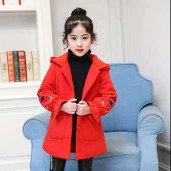 เด็กสาวฤดูหนาวฤดูใบไม้ร่วงเสื้อโค้ทขนสัตว์สีชมพูสีแดง Flores Design ปลอกลายกลีบดอกไม้ยาวสำหรับเด็กอายุ 8 10 12 ครั้งปี windbreaker-