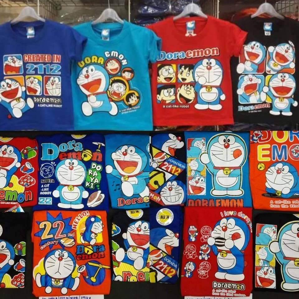 เสื้อยืดเด็กโตลายโดเรมอน ไซส์ XL รอบ อก 30 นิ้ว  เสื้อยาว 21 นิ้ว เด็กอายุประมาณ 8-9ปี ลิขสิทธิ์แท้100%**ร้านจัดคละสี** (1ตัว)