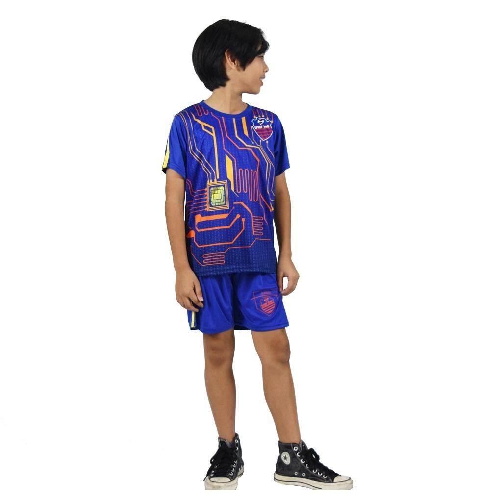 ชุดกีฬาเด็ก 3-12 ปี Sport Hiro (ผ้านุ่มลื่น ระบายอากาศได้ดี มาตราฐานงานสากล) T127-Blue-Circuit