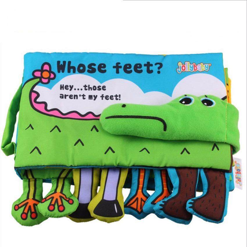 Baby Cloth Book Children Kids Educational Toys Soft Fabric Feet Crocodile English Learning Story Quiet Book For Newborn