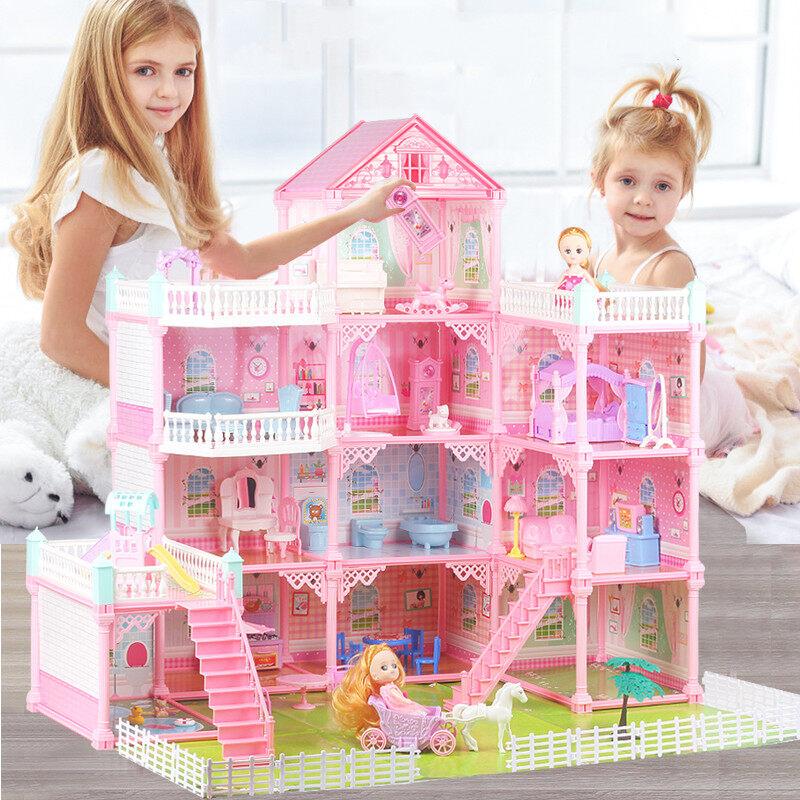 บ้างของเล่นตุ๊กตา มีไฟledสาวบ้านต๊กตา มีเฟอร์นิเจอร์ ของเล่นบ้านบาร์บี้ ชุดสำหรับbarbie ของเล่นบ้านชุดปราสาทเจ้าหญิง บ้านตุ๊กตาdiy.