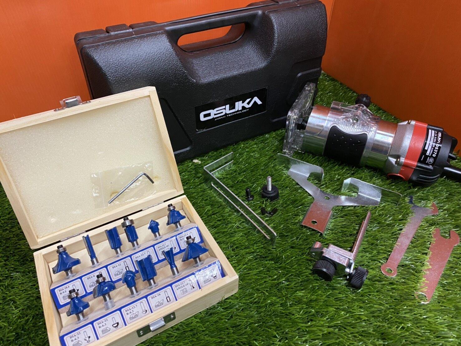 OSUKAเครื่องเซาะร่อง เร้าเตอร์/ทริมเมอร์ 1/4 530 วัตต์ รุ่น OSUKA MT370 พร้อมดอกทริมเมอร์ ขนาด 1/4 12 ตัว