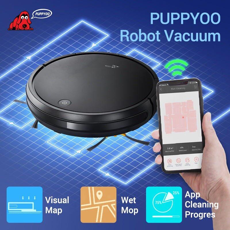 Puppyoo หุ่นยนต์ดูดฝุน อัจฉริยะ ดูดพร้อมถูพื้น สั่งการด้วยมือถือ R30 Robot Vacuum Cleaner HEPA ดูดพร้อมถู สั่งงานทางไกล จาก APP ผู้ช่วยที่แสนดี