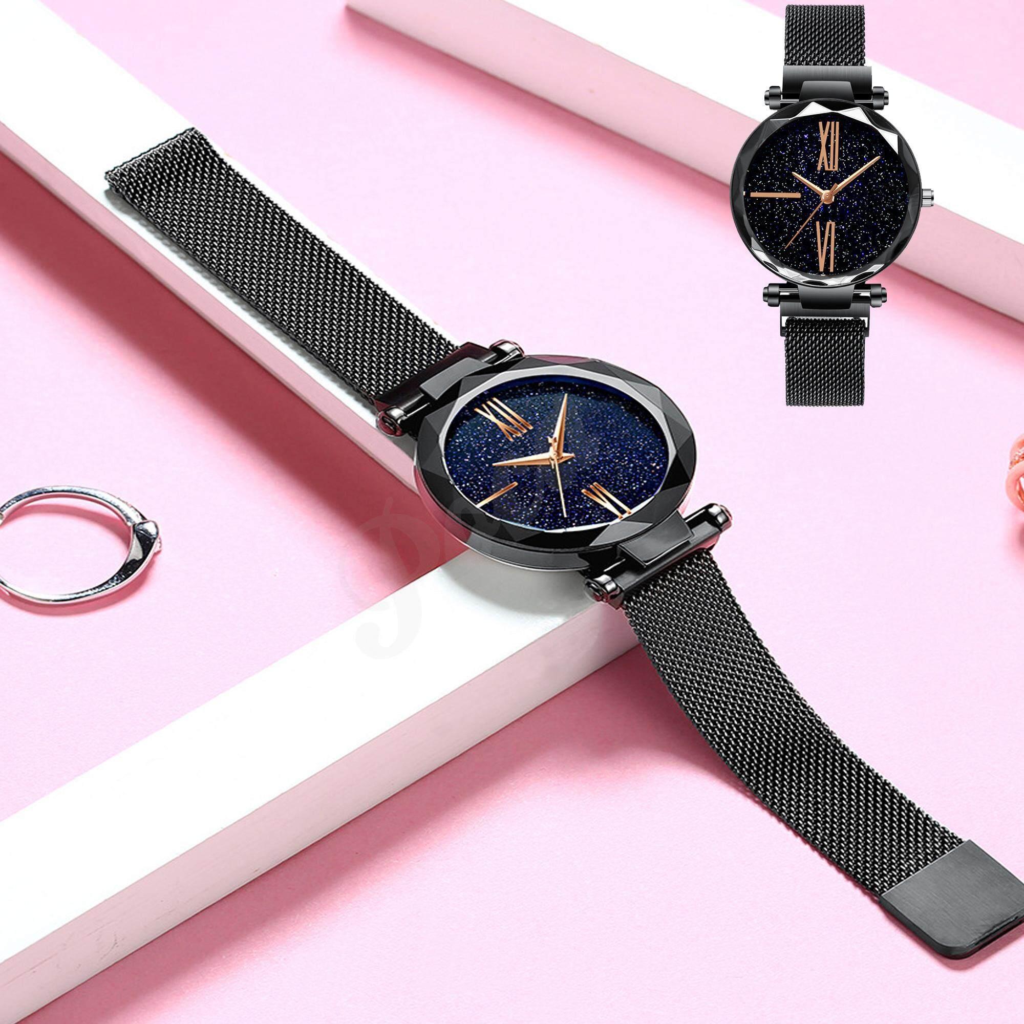 Poca Galaxy Lady นาฬิกาข้อมือ Analog ใช้เข็ม ผู้หญิง แฟชั่น เกาหลี สวยๆ สุดฮิต ลด ราคา สายสแตนเลสเมทัลลิก หน้าปัดกลม รุ่น  Galaxy กล่องนาฬิกา Poca Watch.