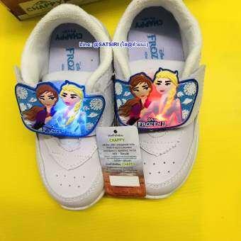 รองเท้านักเรียอนุบาลหญิง-ผ้าใบเจ้าหญิงเอลซ่าของแท้ 100%-รุ่นมีไฟ ยอดนิยม