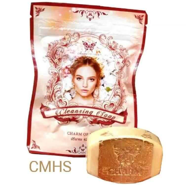 charm of love soap สบู่ล้างหน้า 62 กรัม สบู่ล้างเครื่องสำอางค์ สบู่หน้าเด้ง สบู่หน้าเด็ก cleansing soap สบู่ทองคำ