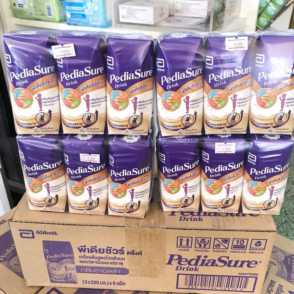 ราคา PediaSure Drink 1+ พีเดียชัวร์ นม UHT กลิ่นวานิลลา 200 มล. (ยกลัง 18 กล่อง)