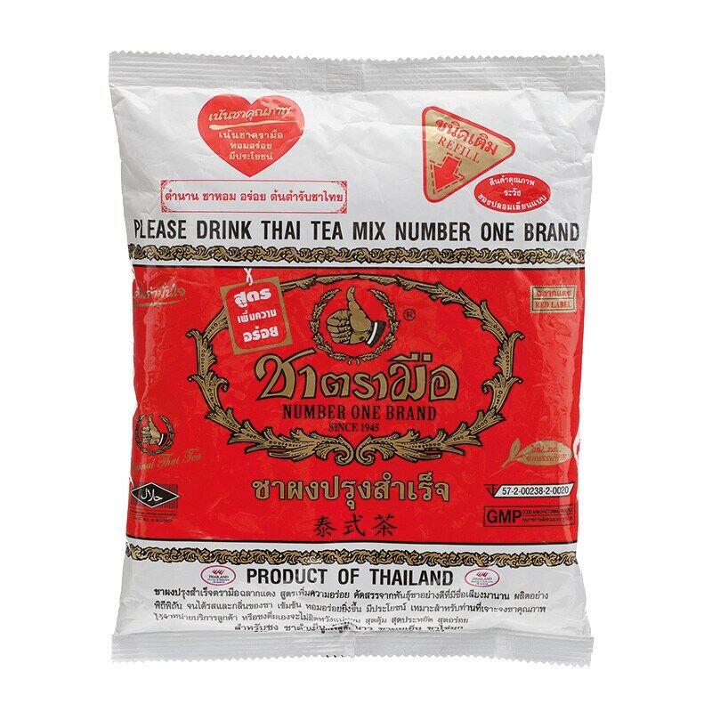 ชาแดงตรามือ ผงสำเร็จรูป 400 G.(chatramue,รสต้นตำรับ,ชาเย็น,ชาไข่มุก,ชาไทย,ถุงสีแดง,ใบชาแดง).